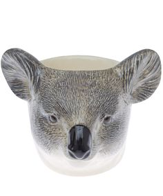 Light Grey Koala Face Stoneware Egg Cup -by Quail Collection