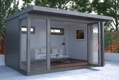 The Charford - Malvern Garden Buildings. The Charford garden office is a versatile building with a modern feel, which can be used in every season. Although a garden office, it is just as well suited for relaxing or entertaining. Outdoor Office, Backyard Office, Backyard Studio, Backyard Sheds, Shed Building Plans, Shed Plans, Contemporary Garden Rooms, Shed Office, Garden Cabins