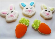 Bunny faces and carrot sugar cookies by Baked Ambition.