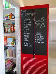 door7 Kitchen Pantry Doors, Pantry Inspiration, Old Screen Doors, Organised Housewife, Kitchen Chalkboard, Reclaimed Doors, Door Picture, Patio Wall, Juice