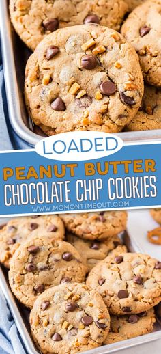 These Loaded Peanut Butter Chocolate Chip Cookies have all of your favorite flavors in one amazing cookie! Fabulously easy to make with no chilling time, this chocolate chip cookie recipe is full of peanut butter, chocolate, and pretzels for an undeniably delicious treat. // Mom On Timeout #cookies #peanutbutter #chocolatechipcookies #chocolate #dessert Cookie Recipes From Scratch, Healthy Cookie Recipes, Peanut Butter Recipes, Healthy Cookies, Cookie Desserts, Yummy Cookies, Baking Recipes, Dessert Recipes, Easy Dessert Bars