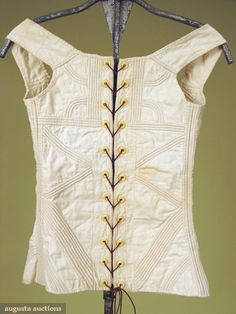 Augusta Auctions: 1800-25, White tabby cotton with cording in a geometric pattern