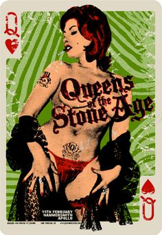 I love band poster art, and QOTSA posters usually have a cool old-school vibe. Rock Posters, Band Posters, Music Posters, Concert Rock, Fantasy Anime, Stoner Rock, Vintage Playing Cards, Psychedelic Rock, Graphic Design Posters