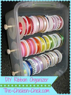 Ribbon Organizer Tote The Chicken Chick®: DIY Ribbon Organizer Tote!The Chicken Chick®: DIY Ribbon Organizer Tote! Do It Yourself Organization, Ribbon Organization, Craft Organization, Organizing Tools, Organising, Ribbon Holders, Craft Room Storage, Storage Ideas, Craft Rooms
