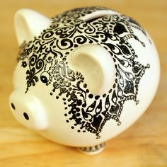Moroccan Styled Ceramic Piggy Bank, Hand Painted Detailing with Henna Designs