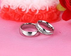 White Gold Plated Engagement Rings for Women Men Jewelry Lover's 6MM Stainless Steel Wedding Bands Ring 2