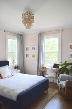 pale pink bedroom with touches of indigo; home tour, room reveal, makeover, interiors, decor, office, guest room, design