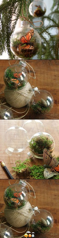 I LOVE LOVE LOVE this idea! Use plastic ones and hang  above Mi's bed maybe some with sand and shells too.