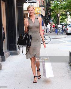 Model Karlie Kloss is seen in walking in Soho on August 6, 2014 in New York City.
