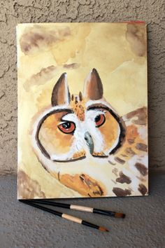 OOAK Original Watercolor Owl Painting/ 9x12/ Hand by VisionDancer, $50.00