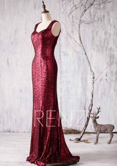 2015 Ruby Bridesmaid dress Wine Double Strap Luxury by RenzRags