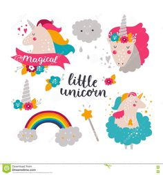 Set Of Baby Unicorn And Rainbow - Download From Over 55 Million High Quality Stock Photos, Images, Vectors. Sign up for FREE today. Image: 74941319