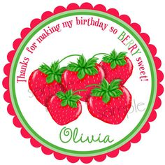 Strawberry Birthday Party  Strawberry by LittlebeaneBoutique, $5.95