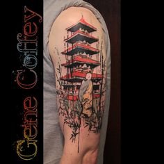Love the style of this one by Gene Coffey. Japanese Tattoo Designs, Japanese Sleeve Tattoos, Dream Tattoos, Rose Tattoos, Japanese Temple Tattoo, Maria Tattoo, Jack Tattoo, Buddha Tattoos, Asian Tattoos