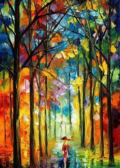 Under Umbrella by L. Afremov.