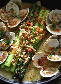 Asparagus & Clam by lard.blog87.fc2 #Clams #Asparagys