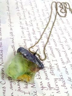 Stained Glass Green Calcite Crystal Soldered Pendant by Mystarrrs, $23.00