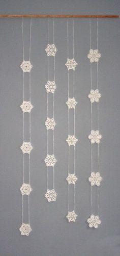 Inspiration ~ Crochet Garland Window Hanging Snowflake Garland by CAROcreated