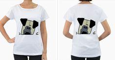 Peeping Pug Women's Loose-Fit T-Shirt (White)