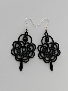 Black lace earrings, black earrings with black beads, tatted earrings, tatting jewelry, 925 silver hooks
