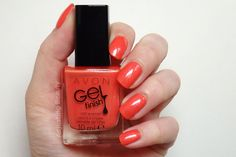 Review and swatch of Avon Gel Finish Nail Enamel in Coral Shimmer