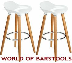 "MODERN ""JUJU"" BAR STOOL IN COOL WHITE 