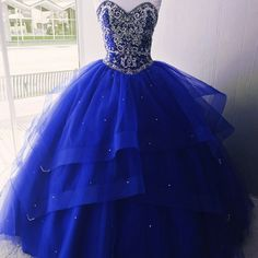 Sequins Beaded Royal Blue Ball Gowns Quinceanera Dresses For Sweet 16