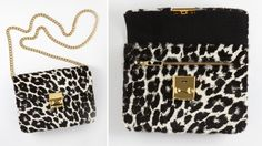 omg...snow leopard bag/clutch with chain