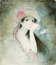 La marguerite, Lithographie, du peintre, BERNARD, CHAROY, Signée et numérotée au crayon
