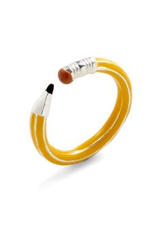 This pencil ring is too cute! Write On Ring - Yellow, Color Block, Casual, $25.99 Kawaii #Modcloth #Jewelry