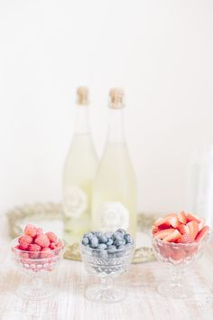 #champagne and frozen berries.