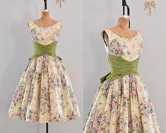 vestido vintage años 50 - fiesta vestido floral print / belle de la bola