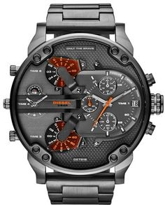 DIESEL® 'Mr. Daddy 2.0' Chronograph Bracelet Watch, 57mm, A gigantic, statement-making watch boasts analog time for four time zones in a rugged, military-inspired design.