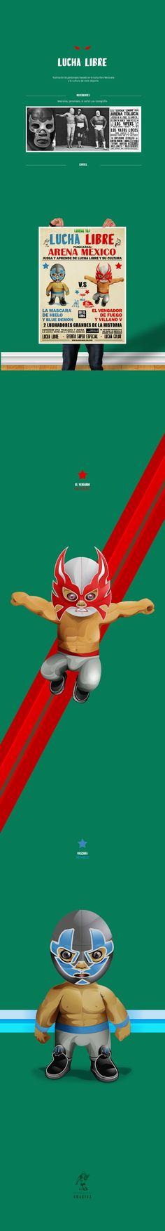 Ilustración de personajes basado en la lucha libre Mexicana y la cultura de este deporte.