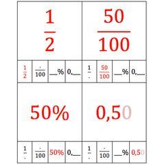 Via dit kwartet oefenen leerlingen de relatie tussen breuken, procenten en kommagetallen. Math Tutorials, Bingo, Math Charts, French Verbs, Skip Counting, Math Fractions, English Words, Teaching Tips, Math Lessons