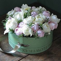 Roses,in a vintage hat box