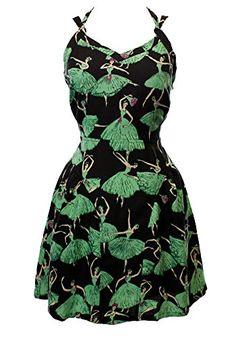 Pretty ballerinas on a pretty dress. Sidecca Ballerina Print Cami Dress-Black/Mint-Large Sidecca | Pretty Little Liars
