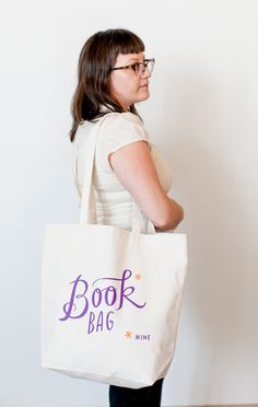 Large Sturdy Thick Canvas Book / Wine Tote by emilymcdowelldraws
