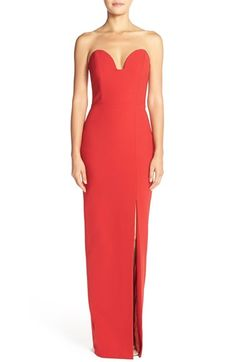 Nicole Miller Strapless Crepe Gown available at #Nordstrom