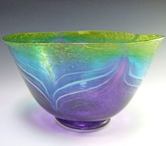 Hand Blown Glass Bowl Morning Glory II