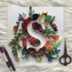 Items similar to Quilling Personalized Letters S wall art for initials name - Monogram -Gift for everyone - Freind/Mom/Father/daughter/Son- Handcraf on Etsy Quiling Paper, Quilled Paper Art, Paper Quilling Designs, Quilling Paper Craft, Paper Crafts Origami, 3d Modellierung, Handmade Crafts, Diy And Crafts, Quilling Letters