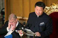 China's President Xi Jinping delivers a speech at the Guildhall in London