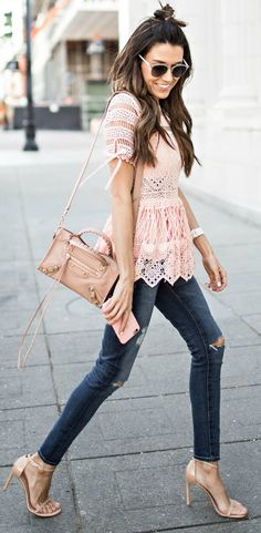 blush pink lace + Christine Andrew + utterly gorgeous + ultra feminine style + intricate lace top + heels and skinny jeans + Christine's style   Top: Intermix, Jeans: Saks Fifth Avenue.