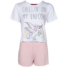 Boohoo Una Unicorn Tshirt & Shorts PJ Set ($10) ❤ liked on Polyvore featuring intimates, sleepwear, pajamas, shirts and unicorn pajamas