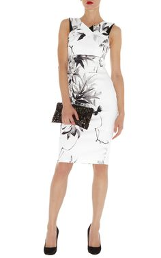 Karen Millen - Oriental floral print dress    Signature print stretch satin dress with front pleat neckline and deep v back