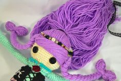PISCES ZODIAC Crochet Art Doll. Closeup of doll hairstyle. She is handmade in free form and originally designed by me. OOAK. She may now be viewed in my Etsy Shop - CreativeChaosMNL
