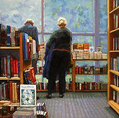 Choosing reading in the library / Eligiendo lectura en la librería (ilustración de Karin Jurick)
