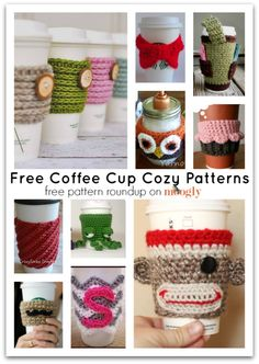 Crochet for your coffee cup! 10 free #crochet coffee sleeve patterns to make today! Great for gifts and keeping fingers safe! ♥