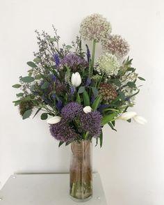 flower bouquet with allium, tulip, Veronica, trachelium, eucalyptus