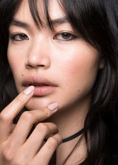 Browse the best nail art ideas from fashion month Spring 2017 at @StyleCaster   Francesco Scognamiglio's muted nails